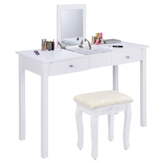Costway Vanity Table Dressing Table Flip Top Desk Mirror 2 Drawers  Furniture With Stool