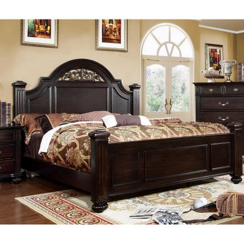 Furniture of America Vame Traditional Walnut Queen Wood Panel Bed