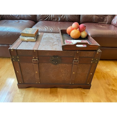 Gold Rush Black Large Wood Storage Trunk Wooden Treasure Chest