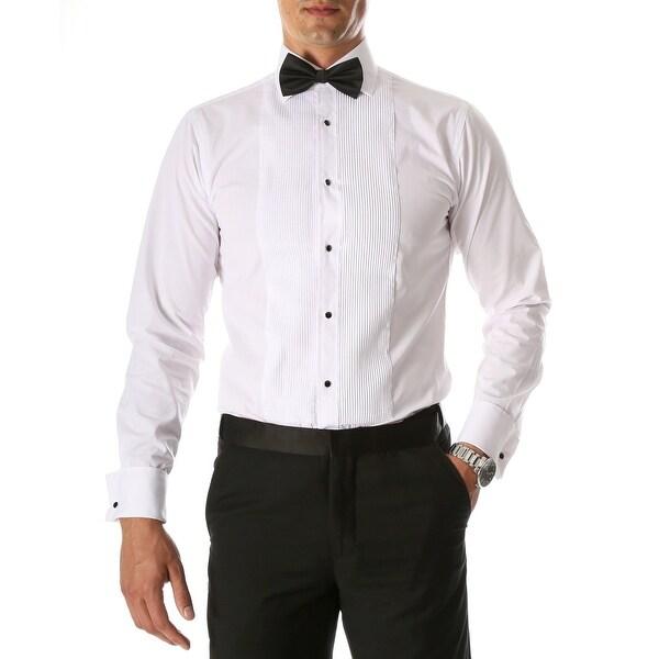 Mens Paris Slim Fit Lay Down Collar Pleated Tuxedo Shirt