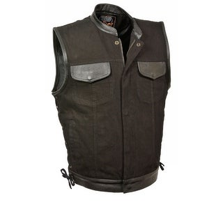 Mens Denim Hidden Zipper Side Lace Vest with Leather Trim
