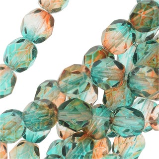Czech Fire Polished Glass Beads 6mm Round Two Tone Teal/Topaz (25)