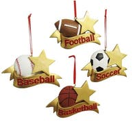 """Pack of 12 Gold Star and Ribbon Sport Christmas Ornaments for Personalization 3.25"""""""