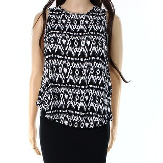 NEW WAYF Black White Womens Small S Printed High-Back Tank Blouse