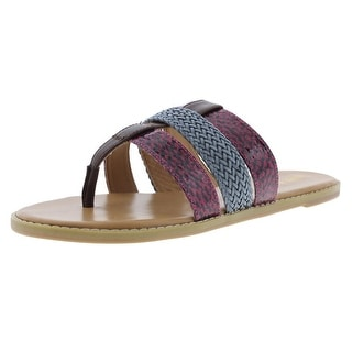 Nine West Womens Karaka Flat Sandals Leather Snake Print