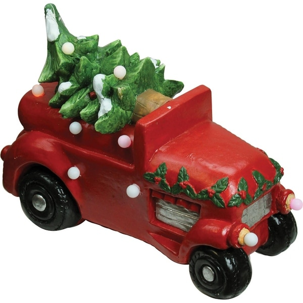 """18"""" Christmas Morning Red LED Lighted Musical Truck with Tree Tabletop Figure - green"""
