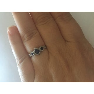 Miadora Signature Collection 10k White Gold Sapphire and 1/8ct TDW Diamond 3-stone Infinity Engagement Ring