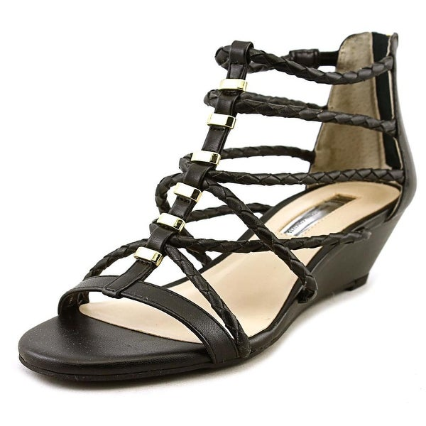 INC International Concepts Makera Women Open Toe Synthetic Black Wedge Sandal