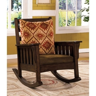 Link to Furniture of America Tyer Traditional Oak Fabric Rocking Accent Chair Similar Items in Living Room Chairs