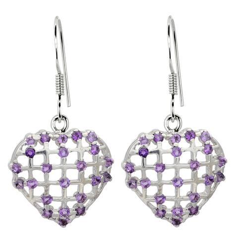 Garnet, Peridot, Amethyst Sterling Silver Round Dangle Earrings by Orchid Jewelry