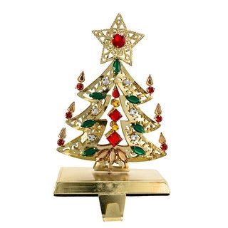 """9"""" Golden Colored Christmas Tree Stocking Holder with Red and Green Gemstones"""