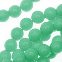 Czech Glass Pastella Collection, Smooth Round Druk Beads 6mm, 1 Strand, Green Turquoise