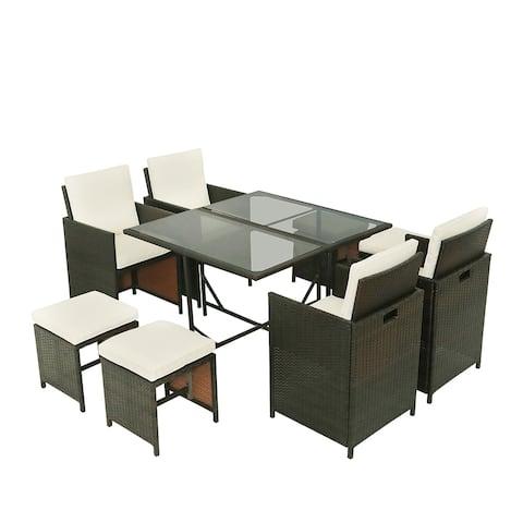 Outdoor Rattan Wicker Patio Dining Table Set Garden Outdoor Patio Furniture Sets (9-Piece)