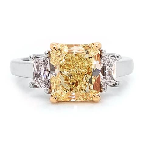 Auriya Platinum 3 3/5CTW 3 Stone Radiant Yellow Diamond Engagement Ring in