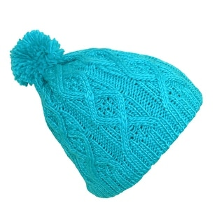 CTM® Women's Fleece Insulated Cable Knit Hat with Pom Pom - One size