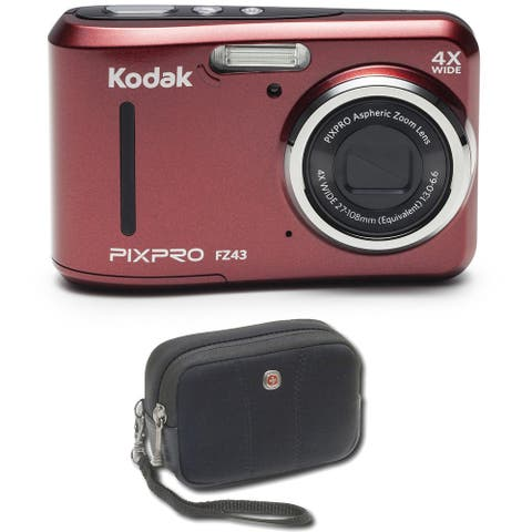 "Kodak PIXPRO FZ43 16 MP Digital Camera, 4X Optical Zoom, 2.7"" LCD (Red) Bundle"