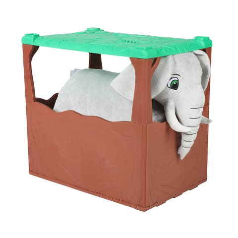 Zoo Crew 6V Plush Elephant with Jungle Den Included