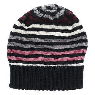 Missoni Black/Pink Knitted Beanie Wool Blend Hat