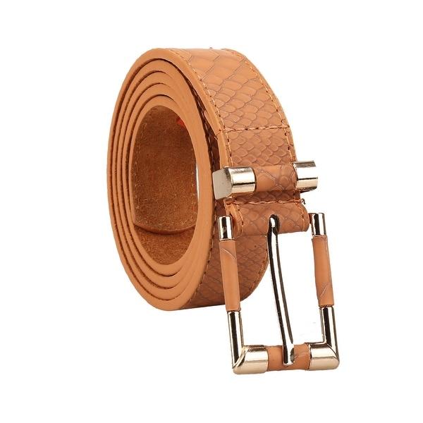 62a910b85 Women Alligator Pattern Skinny Metal Pin Elastic Buckle PU Belt White One  Size