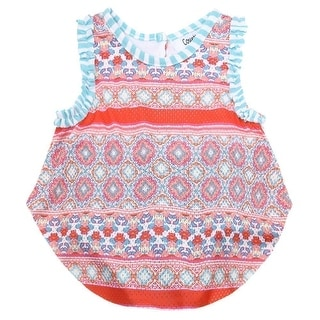 Counting Daisies Baby Girls Orange Kaleidoscope Sleeveless Bodysuit Bodysuit 3M