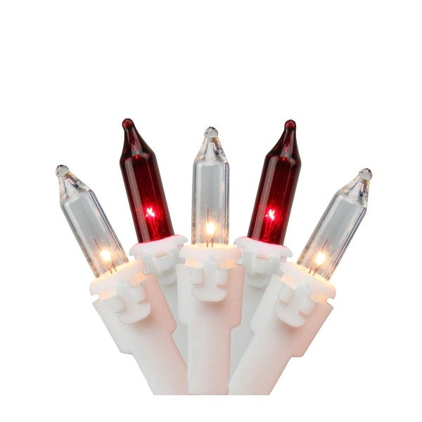 """Set of 35 Red & Clear Mini Christmas Lights 2.5"""" Spacing - White Wire"""