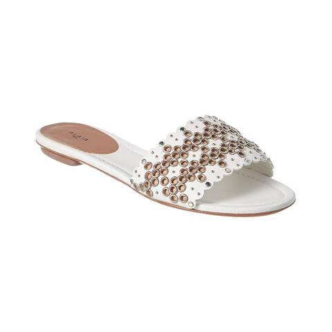 Alaia Embellished Leather Slide