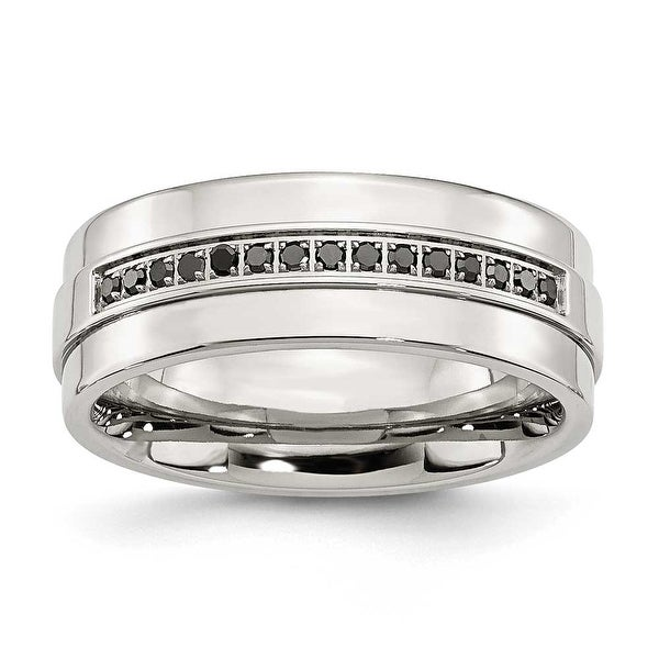 Stainless Steel Polished & Black Diamonds Ring (8 mm)