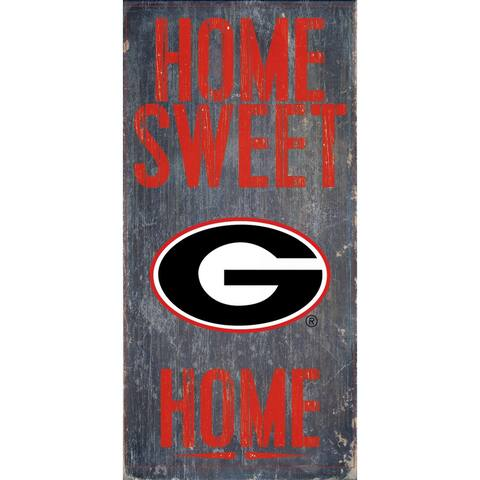 "Georgia Bulldogs Wood Sign - Home Sweet Home 6""x12"""