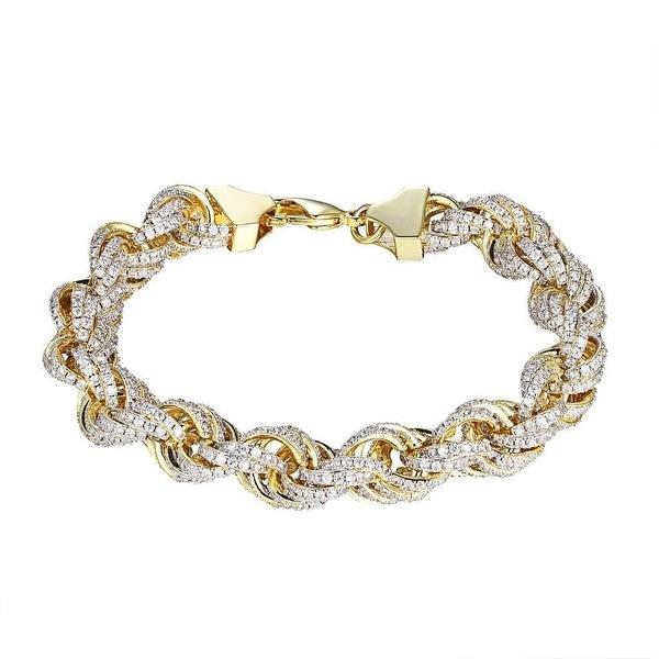 Rope Link Bracelet 14k Gold Tone Iced Out Lab Diamond 11mm Mens Hip Hop