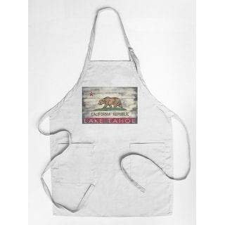 Lake Tahoe, California - Rustic State Flag - Lantern Press Artwork (Cotton/Polyester Chef's Apron)