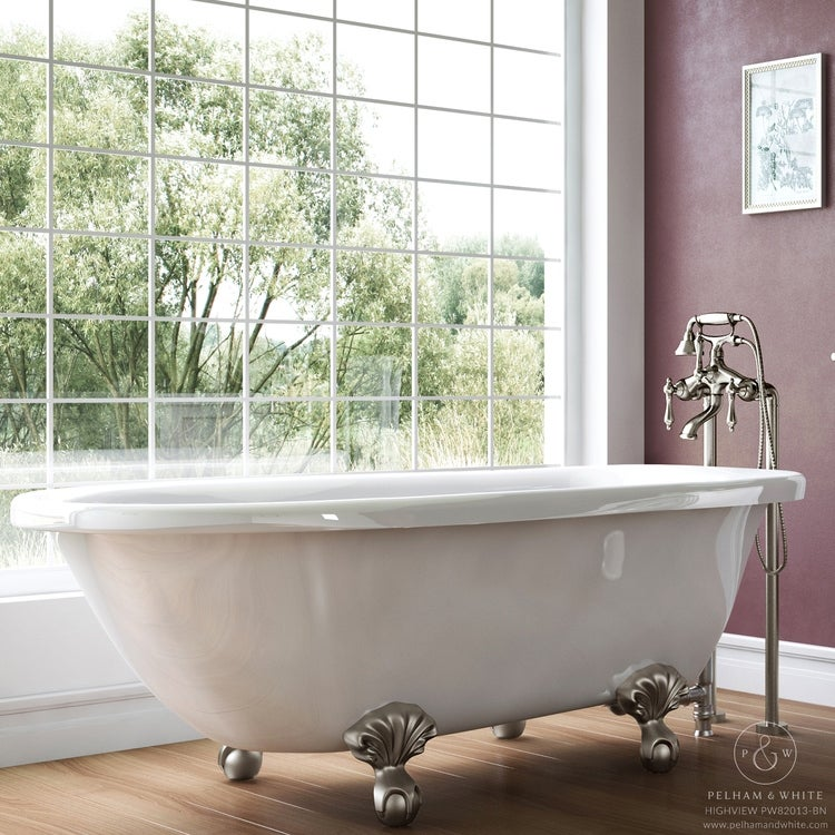 Pelham White Luxury 54 Inch Clawfoot Tub With Nickel Ball