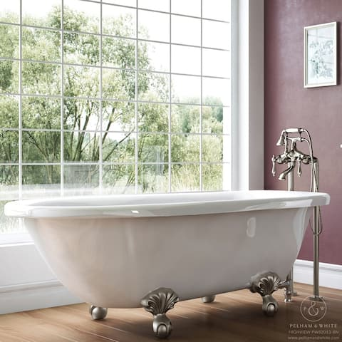 Pelham & White Luxury 54 Inch Clawfoot Tub with Nickel Ball and Claw Feet