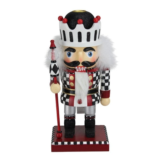 """10"""" White, Red and Black Checkered Crown Christmas Nutcracker Tapered Candle Holder"""