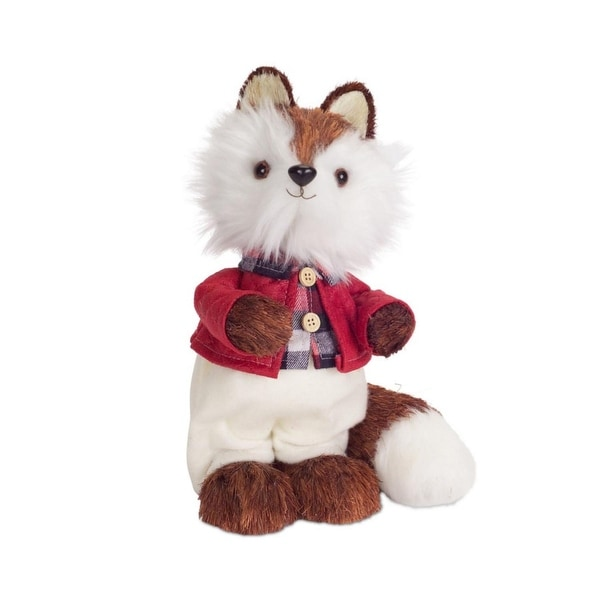 """10.75"""" Brown and White Mr. Fox Wearing Pants and Jacket Christmas Decoration"""
