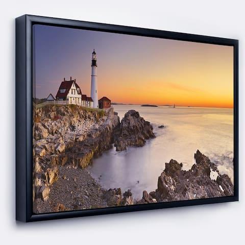Designart 'Portland Head Lighthouse Maine' Modern Seascape Framed Canvas Artwork Print