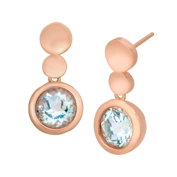 2 1/3 ct Sky Blue Topaz Drop Earrings in Bronze