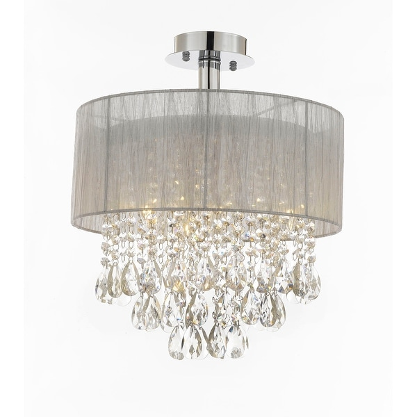 "Silver and Crystal 15""W Ceiling Light Chandelier Pendant Flush Mount"