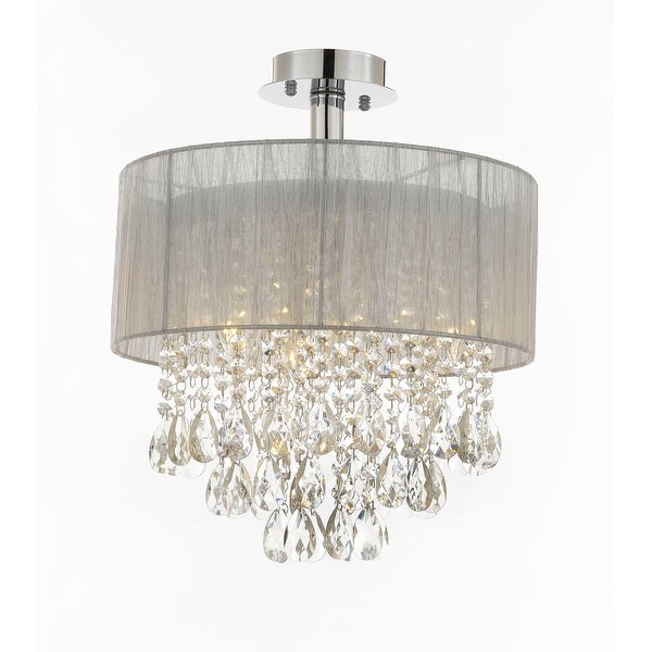 Flush Chandelier Silver and crystal 15w ceiling light chandelier pendant flush mount silver and crystal 15w ceiling light chandelier pendant flush mount audiocablefo