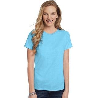 Hanes Women's Relaxed Fit Jersey ComfortSoft® Crewneck T-Shirt - Size - 3X - Color - Blue Horizon