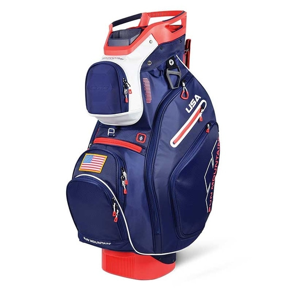 New 2019 Sun Mountain C-130 5-Way Golf Cart Bag (Navy / White / Red) - Navy / White / Red