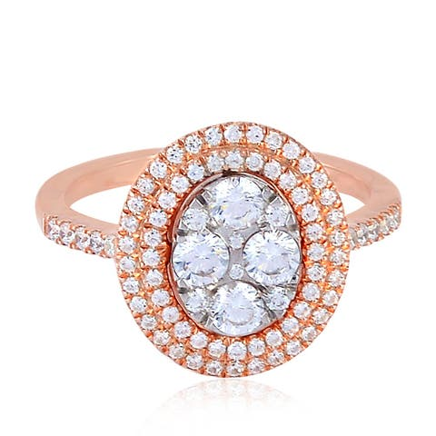 925 Silver Cubic Zirconia Cocktail Ring Micro Pave Jewellery