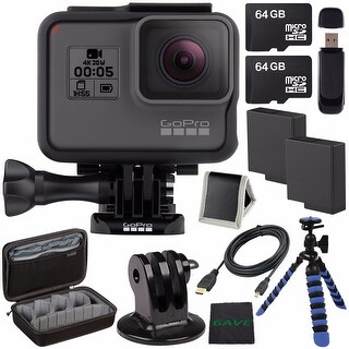 GoPro HERO5 Black CHDHX-501 + Replacement Lithium Ion Battery For GoPro Hero5 + 64GB microSDXC Card + Micro HDMI Cable Bundle