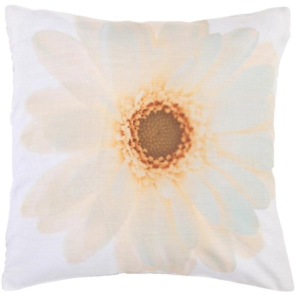 """22"""" Golden Bronze and Blue Haze Lovely Daisy Down Throw Pillow"""