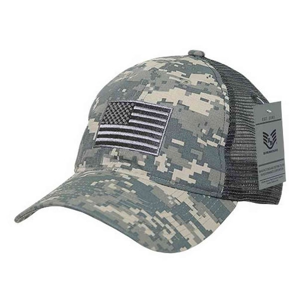 Rapid Dominance Ripstop Men's Embroidered USA Flag Trucker Cap Hat Camo  Digital