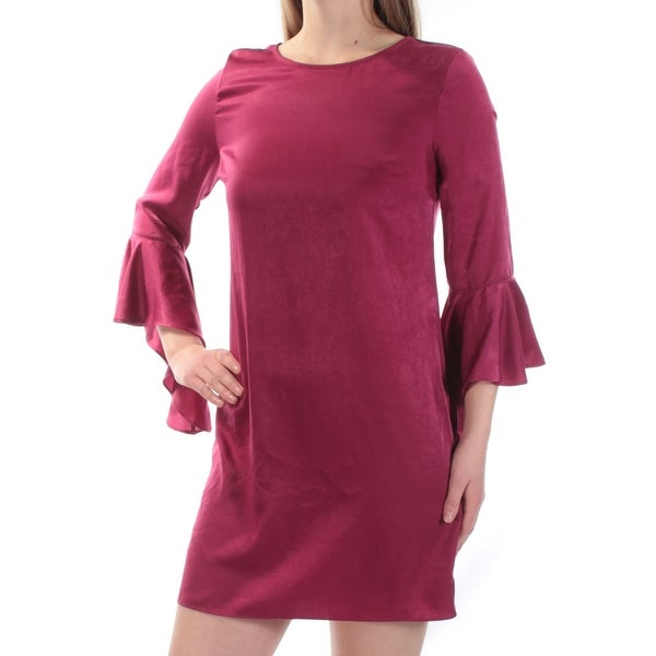 015ea6743314 Shop BAR III Womens Maroon Bell Sleeve Jewel Neck Mini Shift Dress Size   2XS - On Sale - Free Shipping On Orders Over  45 - Overstock - 23455334