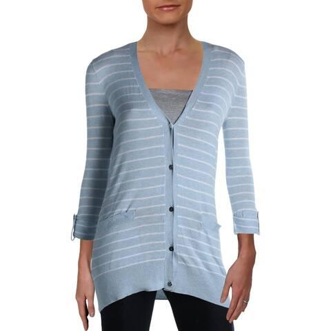 Lauren Ralph Lauren Womens Lindy Cardigan Sweater Striped Layering - English Blue - XS