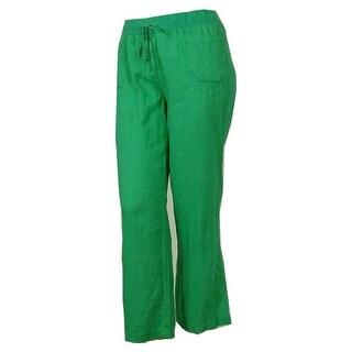 Style & Co Women's 100% Linen Elastic Waist Wide Leg Pants