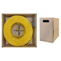 Offex Bulk Cat5e Yellow Ethernet Cable, Solid, UTP (Unshielded Twisted Pair), Pullbox, 1000 foot