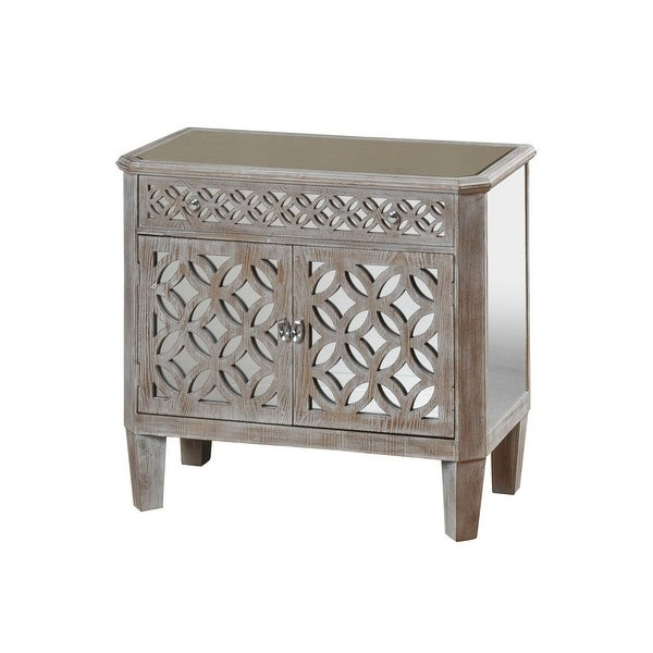 "StyleCraft SC-SF24469 33 1/2"" Wide Single Drawer Glass and Wood Accent Cabinet with Mirrored Filigree Design - Driftwood Gray"