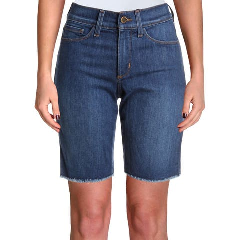 NYDJ Womens Petites Briella Denim Shorts Fringe Mid-Rise - 0P